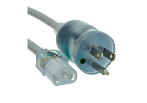 6FT 16 AWG NEMA 5-15P - C13 HOSPITAL GRADE POWER CORD - CLEAR/GREY by CableWholesale