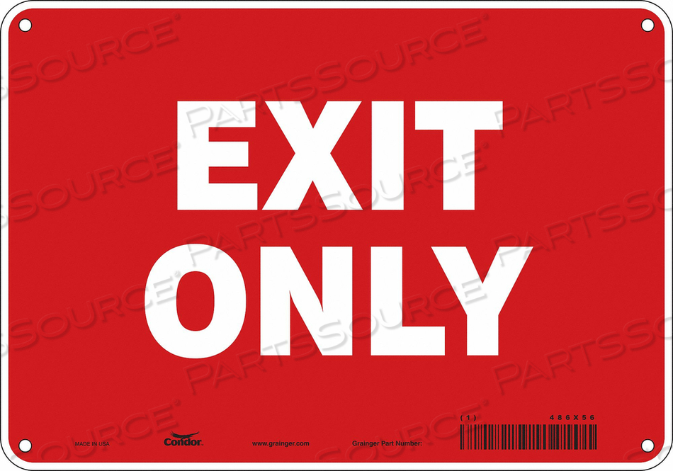 SAFETY SIGN EXIT ONLY 7 X10 by Condor