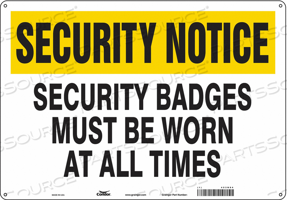 SECURITY SIGN 14 H 20 W PLASTIC by Condor