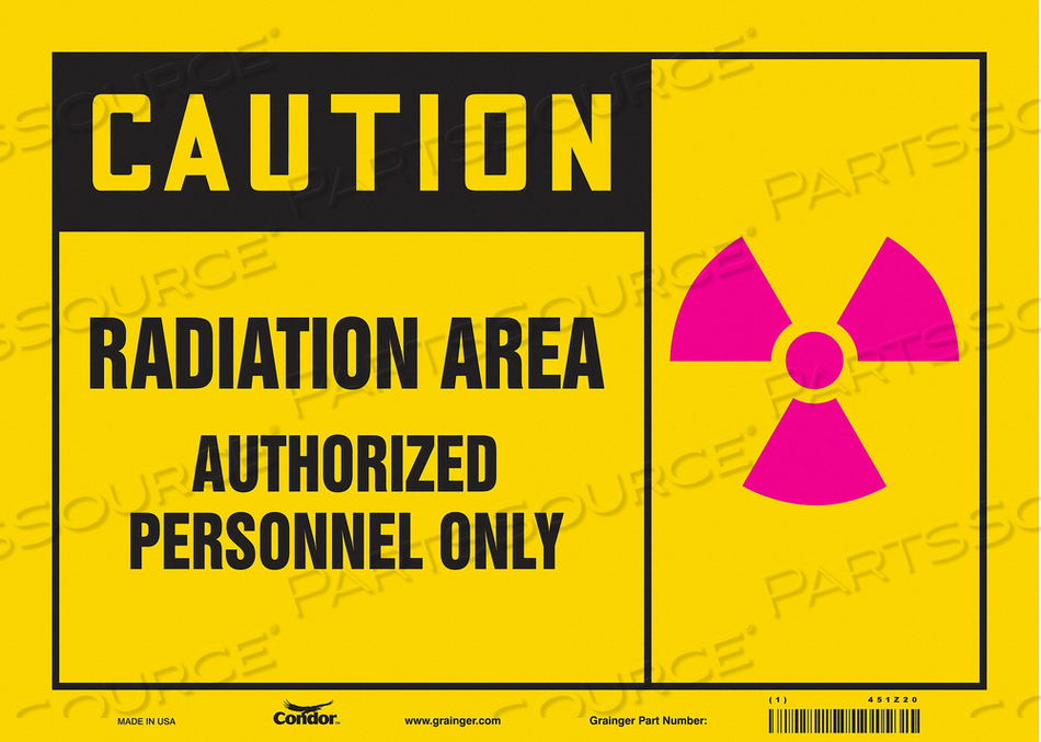 RADIATION SAFETY SIGN VINYL 10 H by Condor