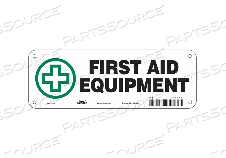 FIRST AID SIGN 10 WX3-1/2 H 0.055 THICK by Condor