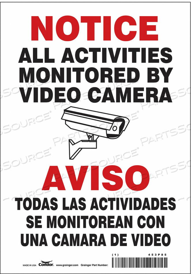 SECURITY SIGN 10 H 7 W VINYL by Condor