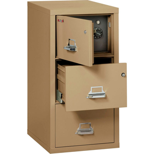 """FIREPROOF 3 DRAWER VERTICAL SAFE-IN-FILE LEGAL 20-13/16""""WX31-9/16""""DX40-1/4""""H SAND by Fire King"""