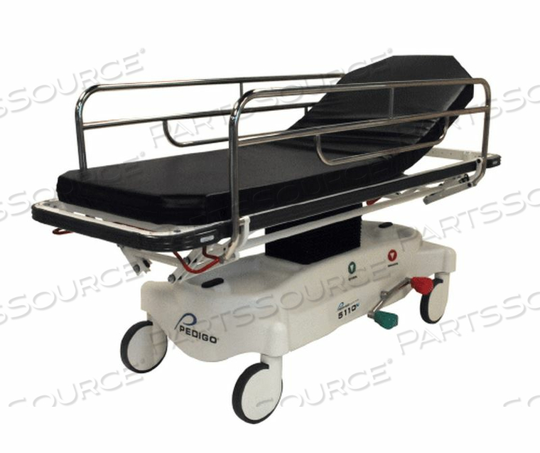 GENERAL TRANSPORT STRETCHER, NARROW, NON-HYDRAULIC, STANDARD LITTER, TRUE DIRECTION STEERING, 500 POUND  CAPACITY. by Pedigo Products, Inc.