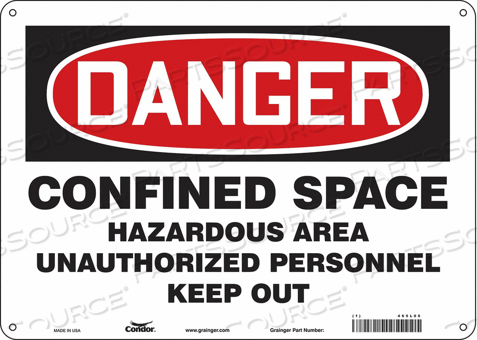 SAFETY SIGN 10 H 14 W ALUMINUM by Condor