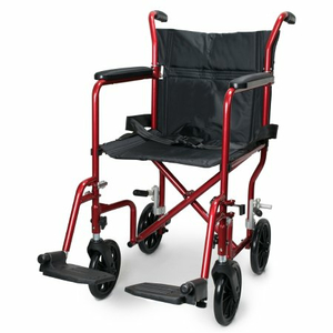 LIGHTWEIGHT TRANSPORT CHAIR, BLACK WITH RED FINISH by McKesson