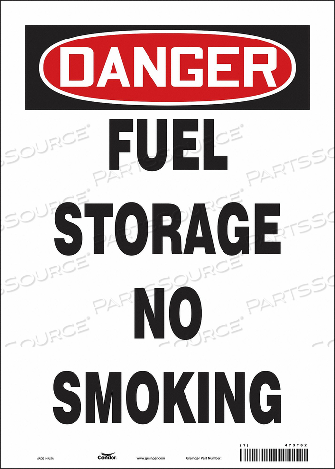 NO SMOKING SIGN 10 WX14 H 0.004 THICK by Condor