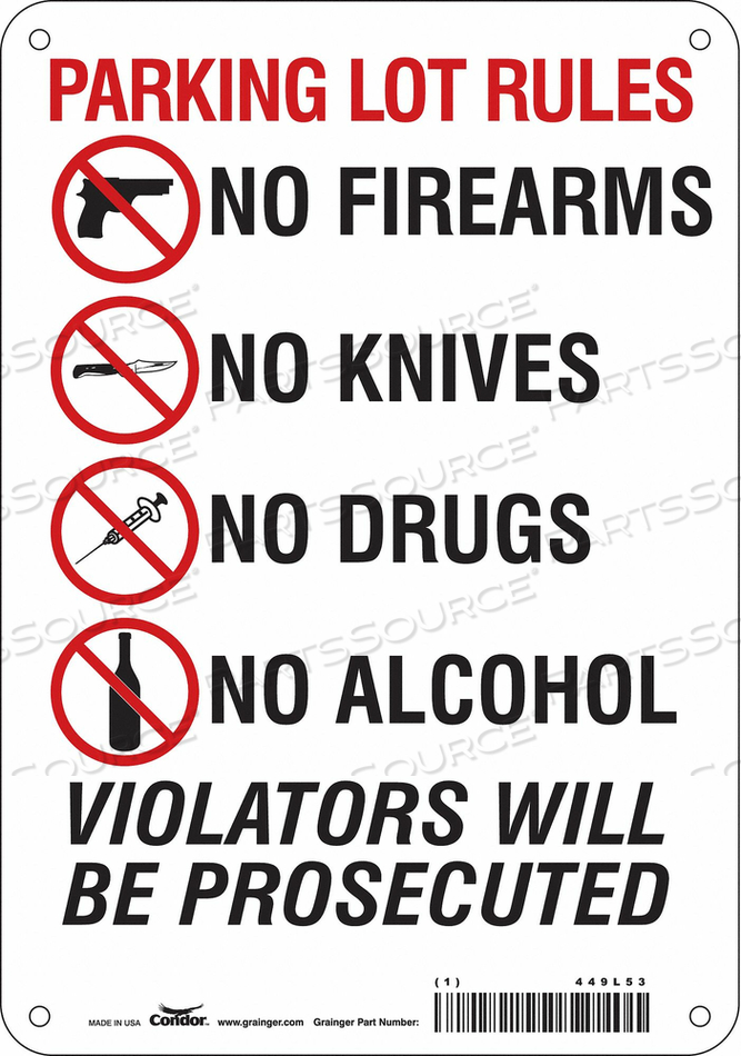 SAFETY SIGN 10 H X 7 W 0.055 THICK by Condor