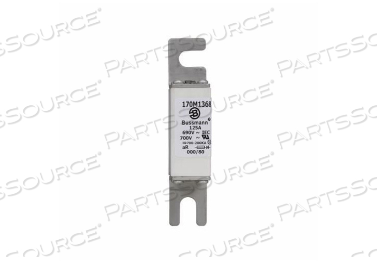 BLADE FUSE, 125 A, CERAMIC, SILVER PLATED COPPER, 660 TO 690 VAC, 200 KA INTERRUPT, DIN RAIL, STUD MOUNTING, 21 MM X 40 MM X 100 MM, SQUARE