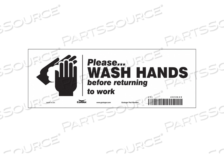 SAFETY SIGN 10 WX3-1/2 H 0.004 THICK by Condor