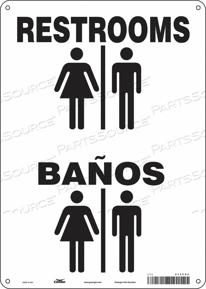 RESTROOM SIGN 10 W 14 H 0.032 THICK by Condor