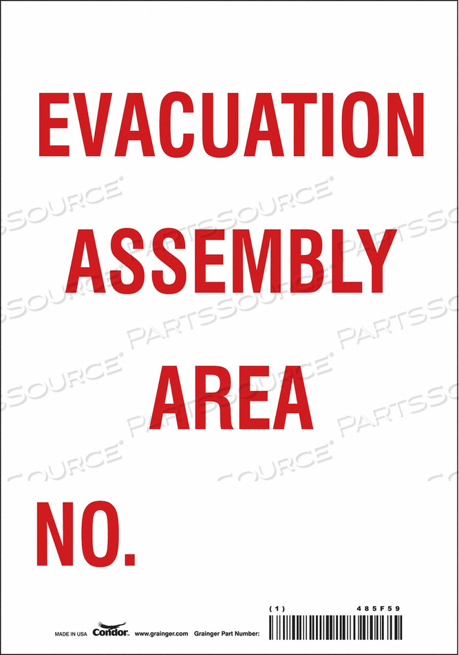 SAFETY SIGN 7 WX10 H 0.004 THICK by Condor