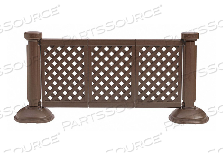 PORTABLE RESIN OUTDOOR PATIO FENCE, 3-PANEL SECTION - BROWN by Grosfillex