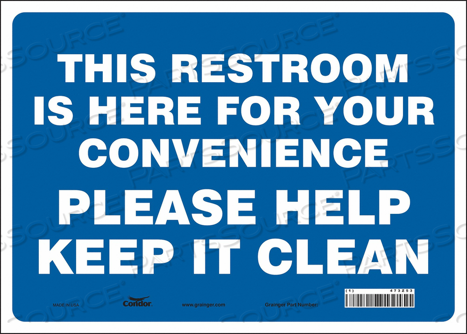 RESTROOM SIGN 14 W 10 H 0.004 THICK by Condor