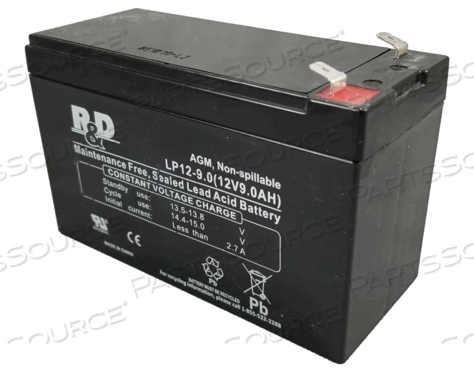 UPS BATTERY, SEALED LEAD ACID, 12V, 9 AH, FASTON (F2) by R&D Batteries, Inc.