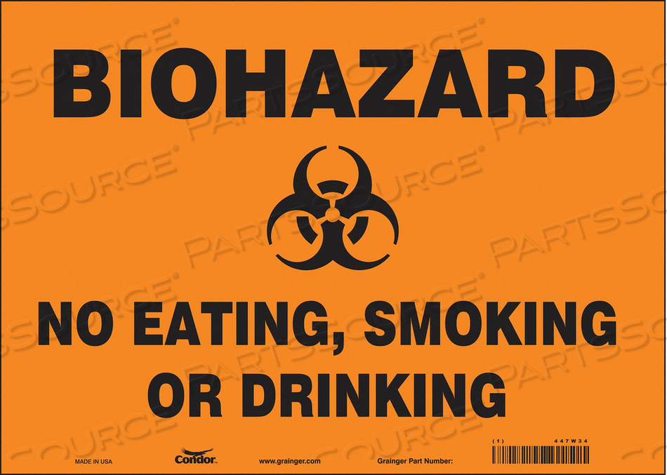 BIOHAZARD SIGN 14 W 10 H 0.004 THICK by Condor