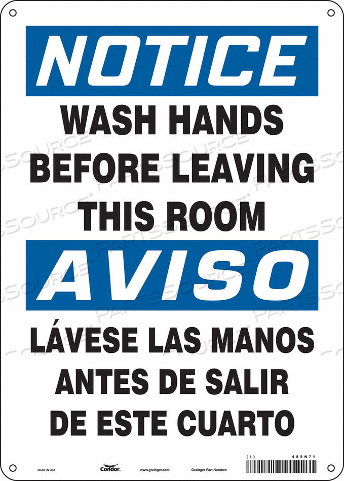 SAFETY SIGN 10 WX14 H 0.032 THICK by Condor