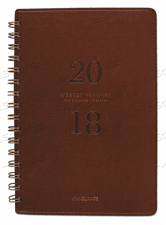 W/M PLANNER 2018 5.75X8-1/2 BROWN by At-A-Glance