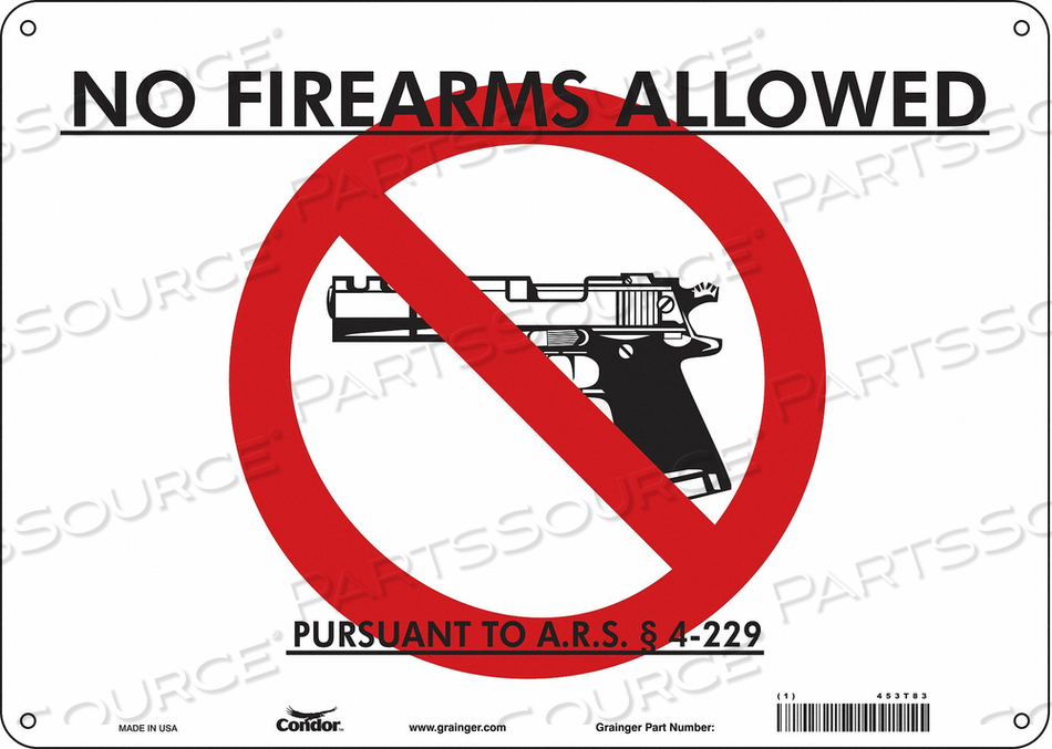 NO CONCEALED WEAPONS SIGN 14 W 10 H by Condor