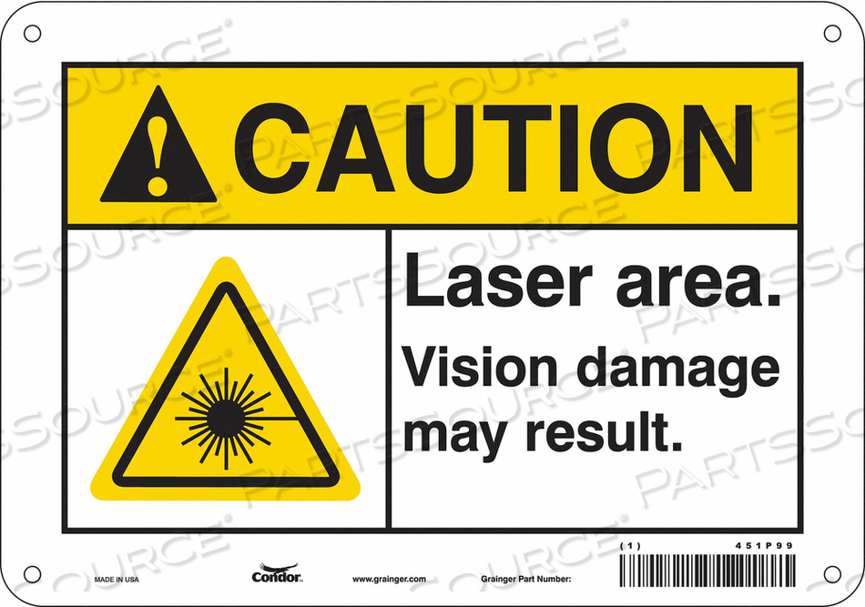 LASER WARNING 10 W 7 H 0.055 THICK by Condor