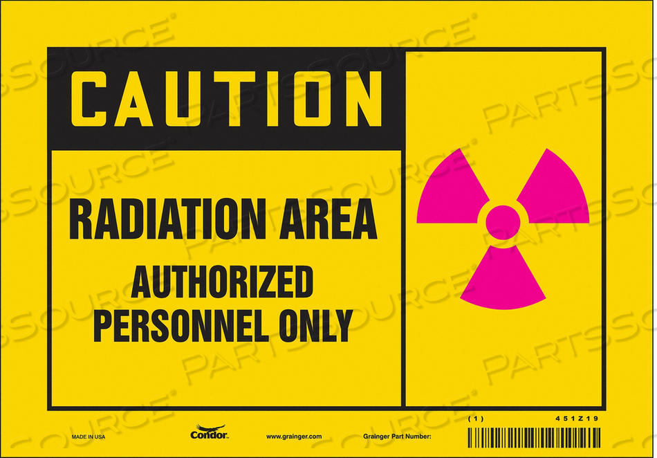 RADIATION SAFETY SIGN VINYL 7 H by Condor