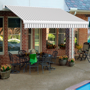 """RETRACTABLE AWNING RIGHT MOTOR 24'W X 10'D X 10""""H GRAY/WHITE by Awntech"""