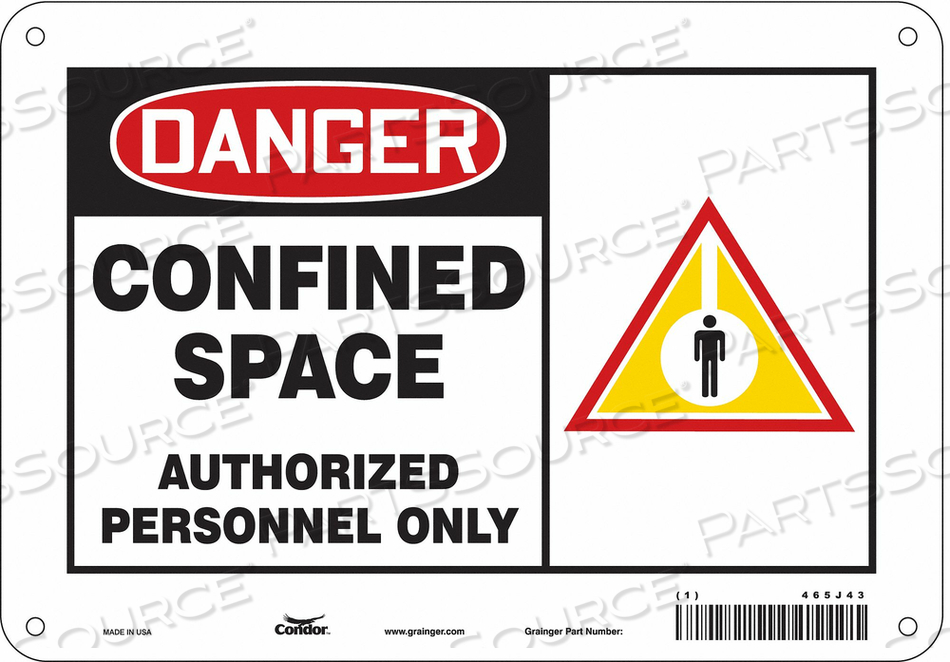 J6915 SAFETY SIGN 7 H 10 W PLASTIC by Condor