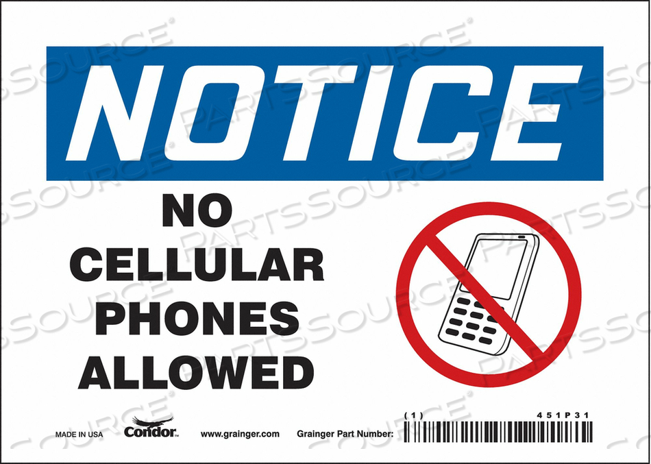 SIGN CELL PHONE 7 W 5 H 0.004 THICK by Condor
