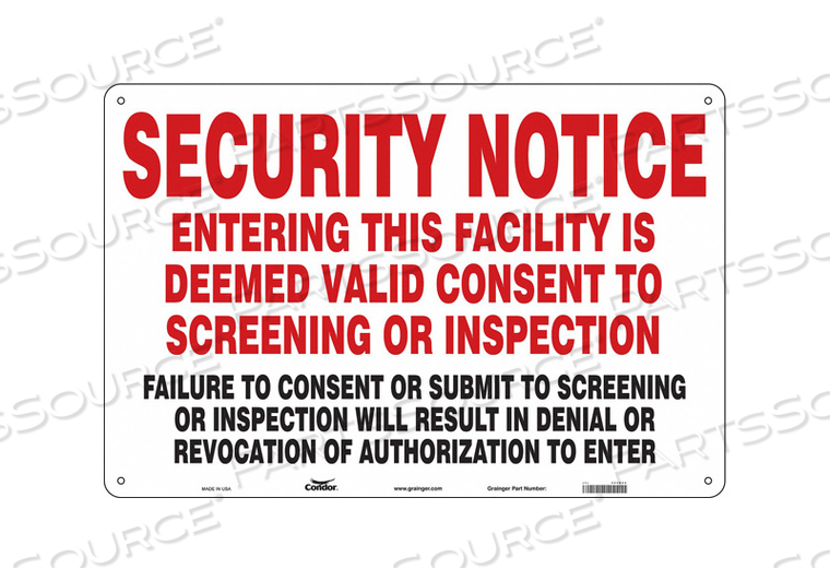 SECURITY SIGN 24 H 36 W PLASTIC by Condor