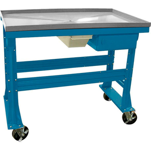 """MOBILE TEARDOWN BENCH 60""""W X 30""""D X 37""""H W/FLUID CONTAINER & DRAWER-BLUE BENCH STAINLESS STEEL TOP by Equipto"""