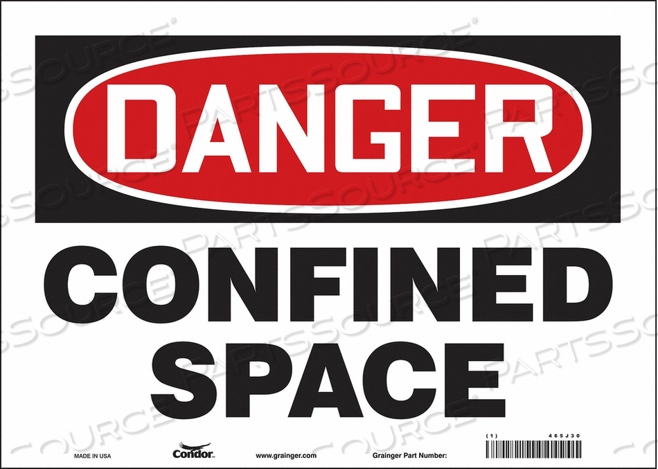 J6914 SAFETY SIGN 10 H 14 W VINYL by Condor
