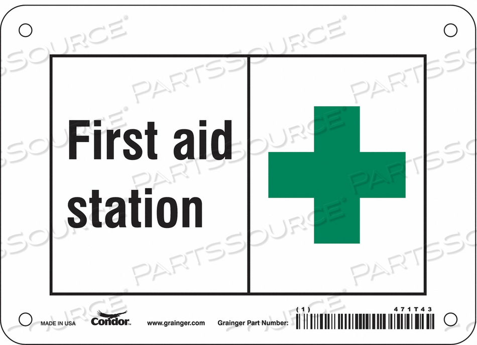 FIRST AID SIGN 7 W X 5 H 0.032 THICK by Condor