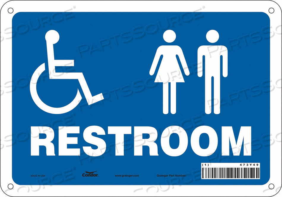 RESTROOM SIGN 10 W 7 H 0.055 THICK by Condor