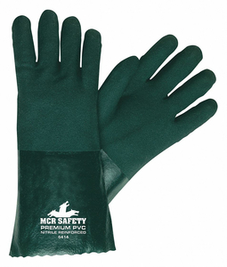 CHEMICAL GLOVES L 14 IN.L GREEN PVC PK12 by MCR Safety