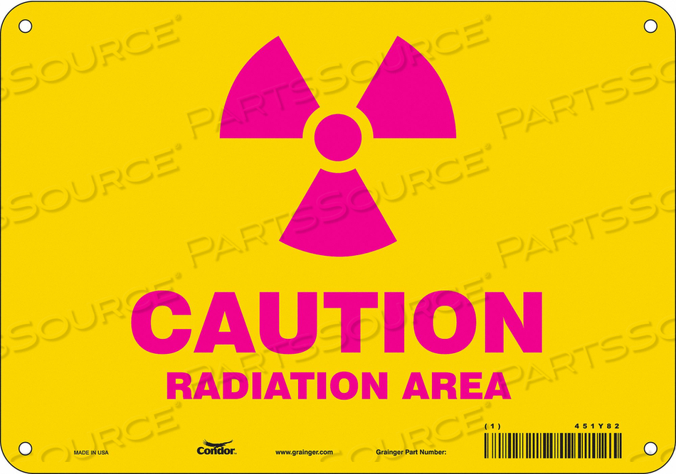 RADIATION SAFETY SIGN ALUMINUM 7 H by Condor