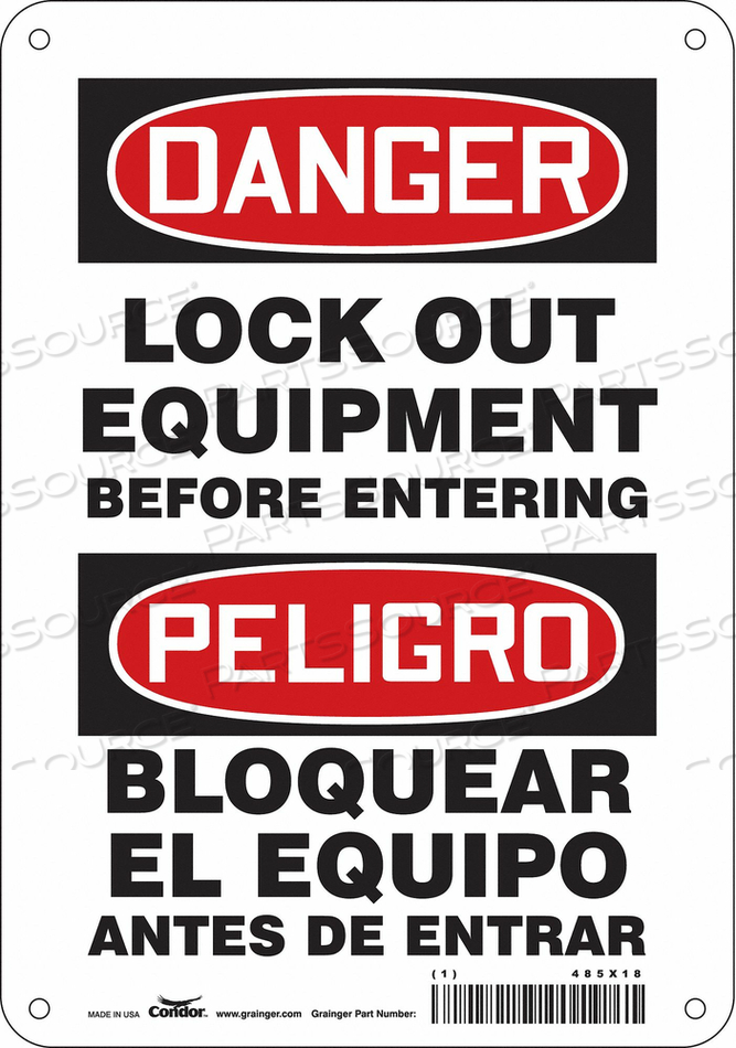 LOCKOUT SIGN 7 W 10 H 0.055 THICKNESS by Condor