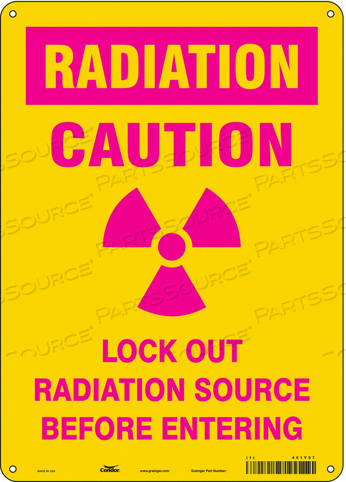 RADIATION SAFETY SIGN ALUMINUM 14 H by Condor