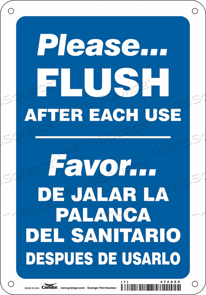 RESTROOM SIGN 7 W 10 H 0.004 THICK by Condor