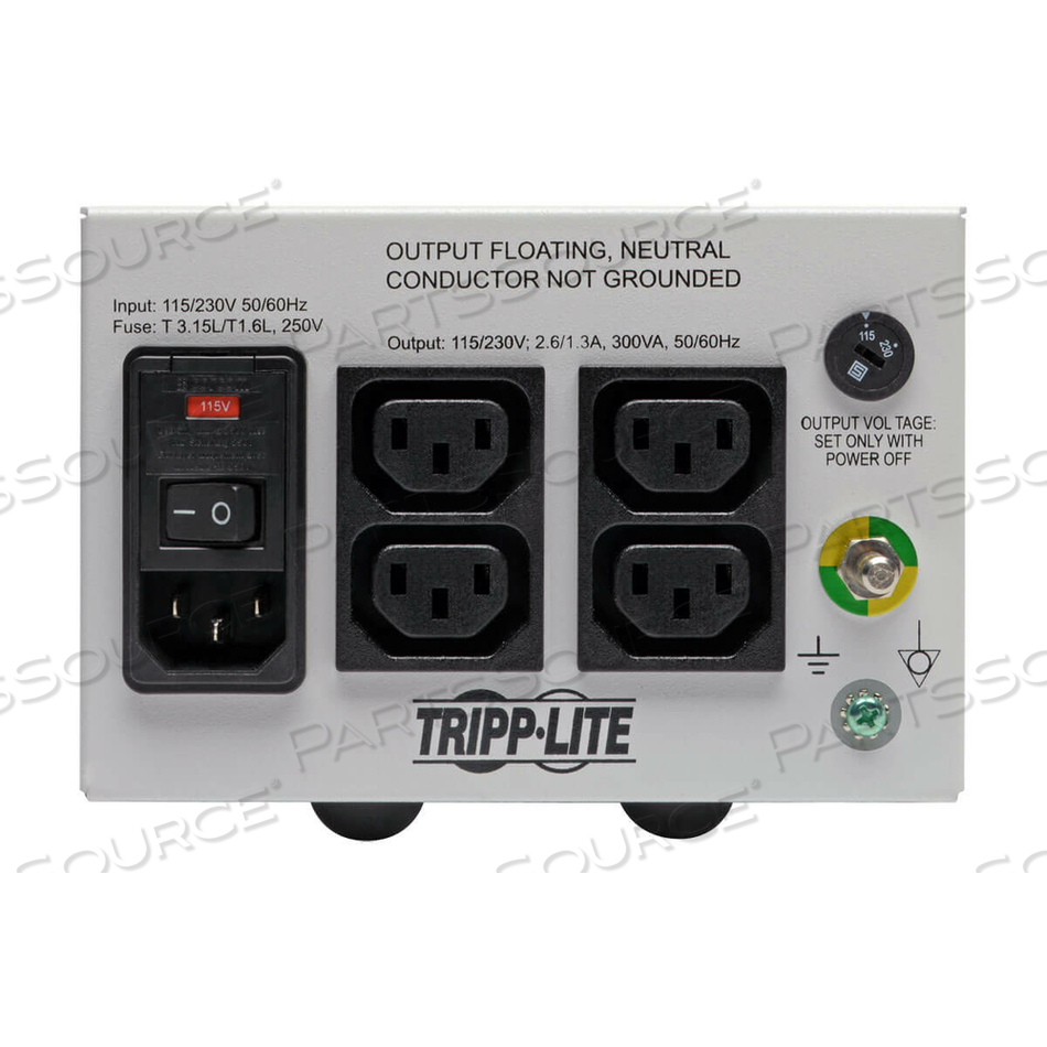 ISOLATION TRANSFORMER HOSPITAL DUAL-VOLTAGE 115/230V 300W 4 C13 by Tripp Lite