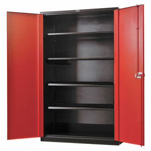 SHELVING CABINET 78 H 48 W BLACK/RED by Hallowell