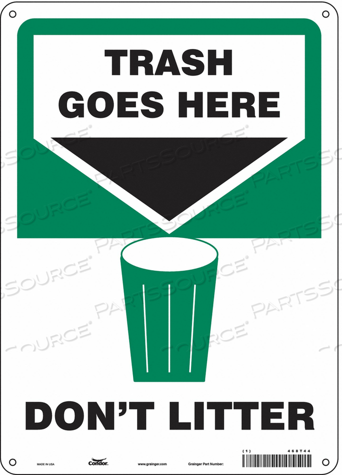 SAFETY SIGN 10 WX14 H 0.032 THICKNESS by Condor