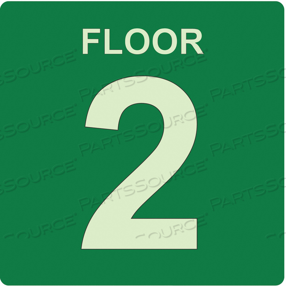 SIGN FLOOR 2 GREEN ENGLISH PLASTIC by Ability One