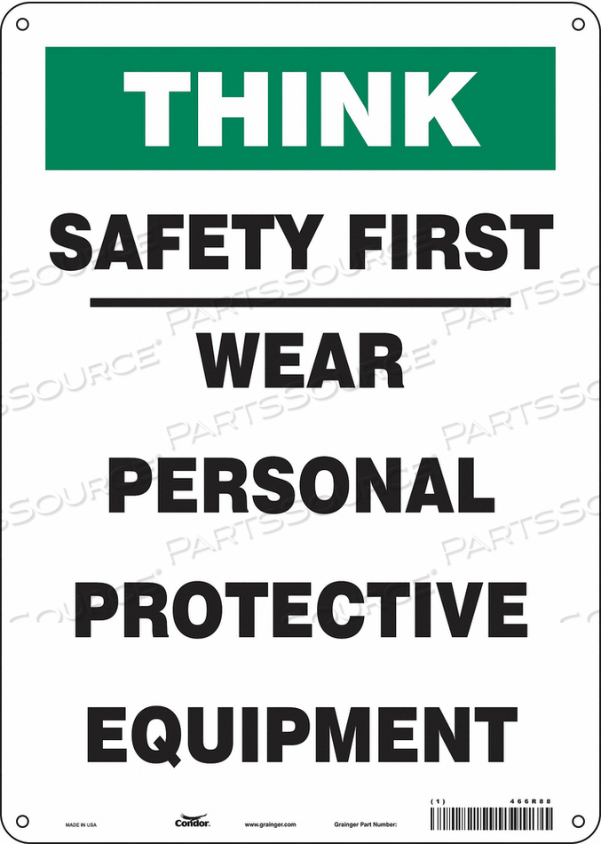 SAFETY SIGN 14 H 10 W PLASTIC by Condor