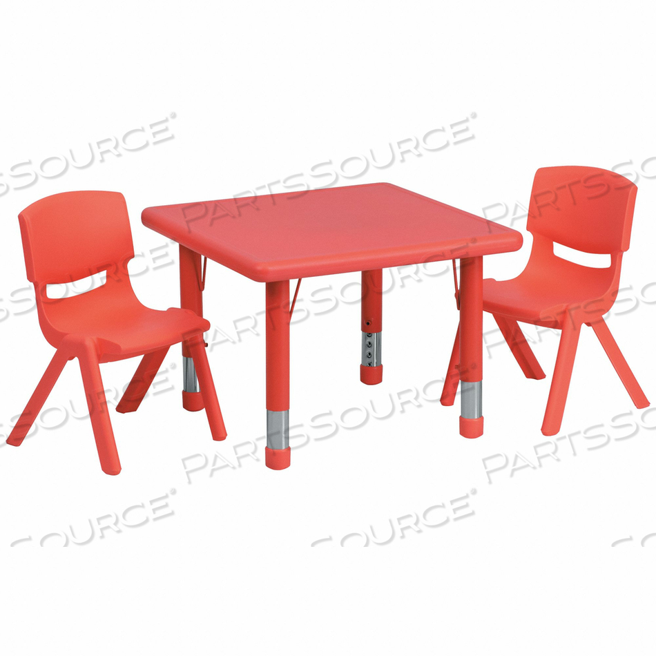 ACTIVITY TABLE SET SQUARE RED 2 CHRS 24 by Flash Furniture