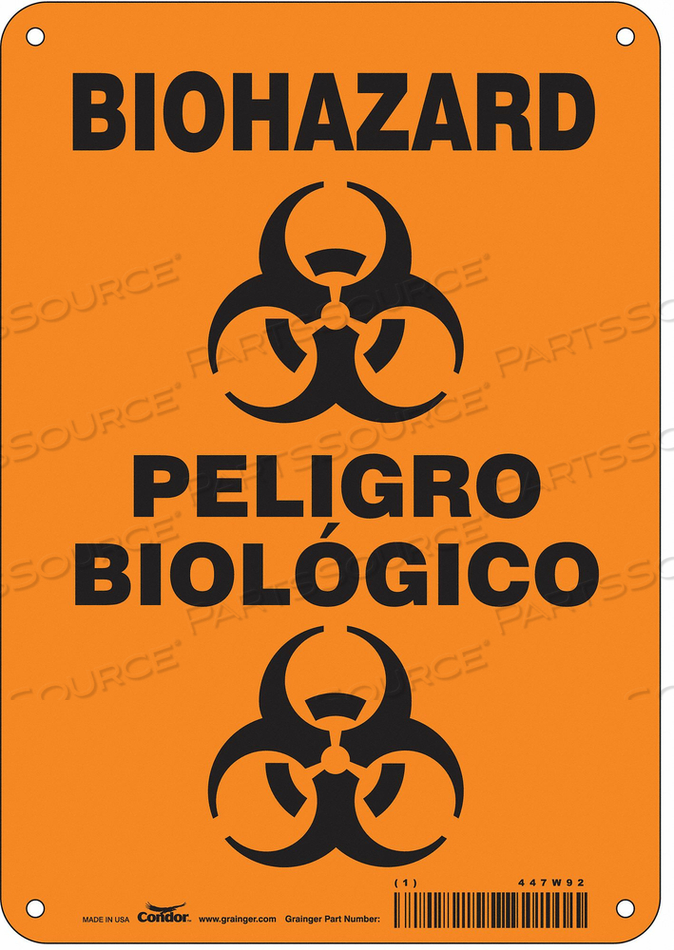 BIOHAZARD SIGN 7 W 10 H 0.055 THICK by Condor