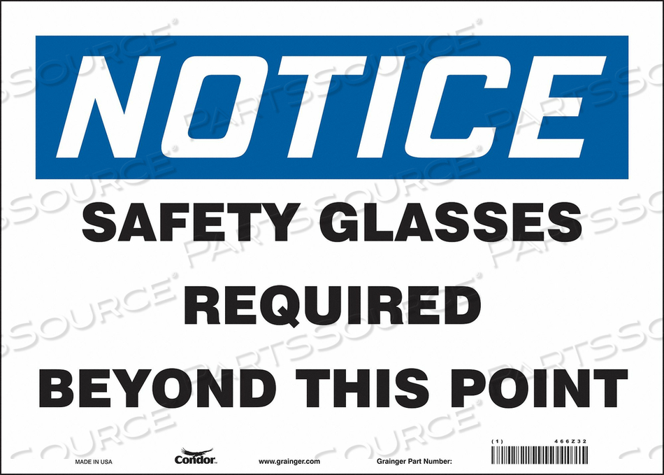 J7003 SAFETY SIGN 14 W 10 H 0.004 THICKNESS by Condor