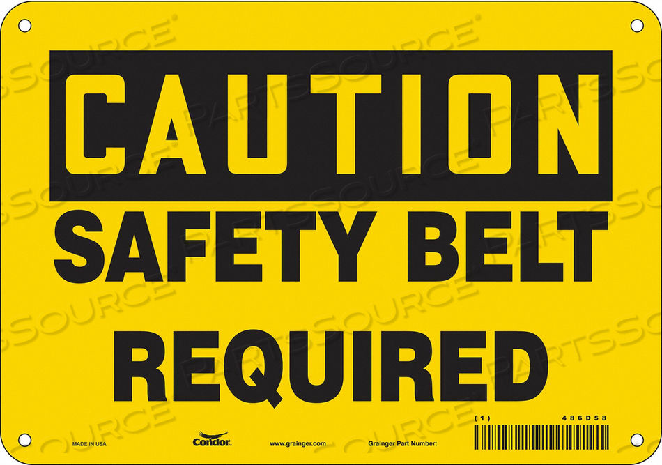 SAFETY SIGN 10 W 7 H 0.032 THICKNESS by Condor