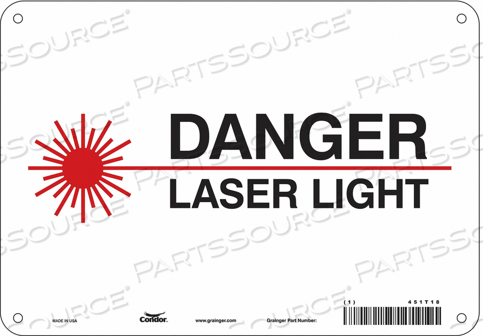 J7008 LASER WARNING 10 W 7 H 0.055 THICK by Condor