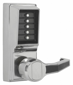 PUSH BUTTON LOCKSET BRIGHT CHROME LEVER by Kaba