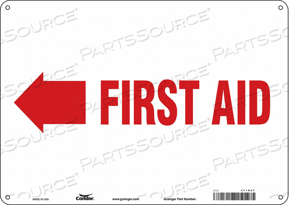 FIRST AID SIGN 14 WX10 H 0.055 THICK by Condor